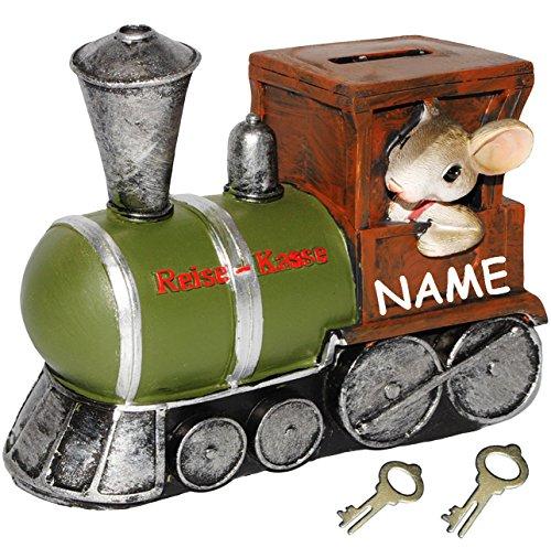 """Preisvergleich Produktbild Spardose - """" Reise-Kasse / Maus mit Eisenbahn """" - incl. Name - mit 2 Schlüssel + Schloß - stabile Sparbüchse aus Kunstharz - Geld Sparschwein - lustig witzig / Urlaubskasse - Reise - Urlaub - Reisekasse / Reisen - Flugzeug - für Kinder & Erwachsene - lustige Maus - Bahn / Zugfahrt - Bahnfahrt - Bahnreise - Tiere - Zug / Lokomotive"""