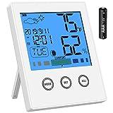 Newdora Thermo-Hygrometer Thermometer Hygrometer Raumluftüberwachtung Temperatur und Luftfeuchtigkeitmessgerät mit Hintergrundbeleuchtung (Weiß)