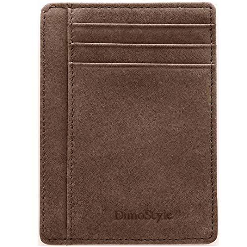 Dimostyle Geldbörse für Damen und Herren - Herren Geldbörse Leder - RFID Kreditkartenfach - Slim Wallet für Männer und Frauen - Braun - Schlank - Hals Rfid-reise-geldbörse