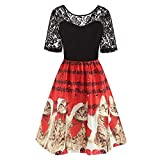 VEMOW Damen Elegantes Cocktailkleid Abendkleid Damen Mode Sleeveless Christmas Cats Musical Notes Print Beiläufig Täglich Vintage Flare Dress(X1-Rot, EU-44/CN-2XL)