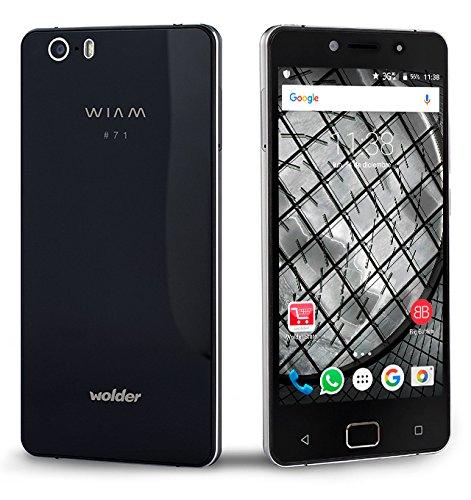 "Wolder WIAM #71 - Smartphone Libre Negro (5"" HD IPS OGS, Quad Core, 1 GB RAM, 8 GB Flash, 8 Mpx / 18 Mpx, Android 5.1 Lollipop, Dual SIM, 4G) Sensor De Huellas"