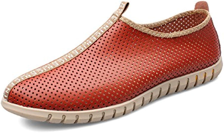 LXXAMens Verano Cuero Casual Zapatos De Trekking Peso Ligero De Malla Transpirable Calzado Deportivo,Orange-44EU