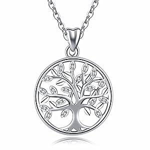 Baum des Lebens' Halskette, Damen 925 Sterling Silber Leben auf Baum Anhänger mit Kette 46CM, Feiner Schmuck von CELESTIA, Freundschaft Muttertag Geburtstag Geschenke mit Box