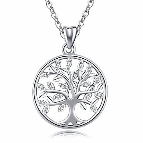 Baum des Lebens\' Halskette, Damen 925 Sterling Silber Leben auf Baum Anhänger mit Kette 46CM, Feiner Schmuck von CELESTIA, Freundschaft Muttertag Geburtstag Geschenke mit Box