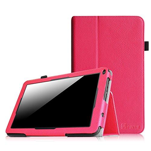 Fintie Premium Kunstleder Folio Hülle Case Schutzhülle Tasche Etui für Dragon Touch A93 9\'\' Quad Core Tablet PC Google Android 4.4 KitKat, Time2 Tablet-PC 9 Zoll - Magenta