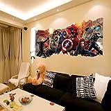 GemengTM Stickers Muraux Décoratifs en PVC Avengers pour Peintures Murales Amovibles