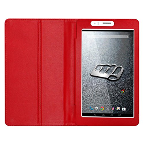 ACM Executive Leather Flip Case for Micromax Canvas Tab P470 Tablet Front & Back Flap Cover Stand Holder Red