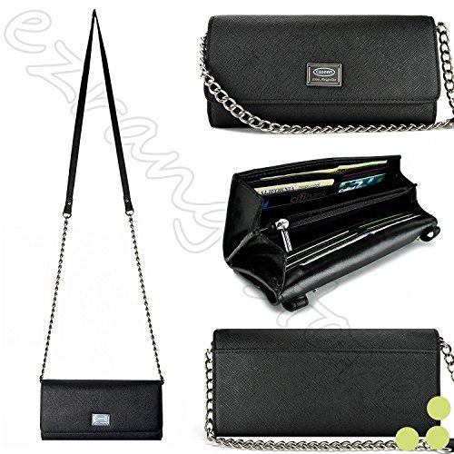 �nder für Damen, luxuriös, für Alcatel Kyocera, Nokia Sony etc. Universal-Geldbörse für Smartphone, PU-Leder, mit Schultergurt, Schwarz Passend für folgende Modelle: ()
