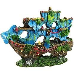 Amakunft - Adornos de Barco Pirata para Acuario, Resina para acuarios, Cuevas acuáticas, casetas, Barcos, terrarios, decoración de 5.7 x 4.3 Pulgadas