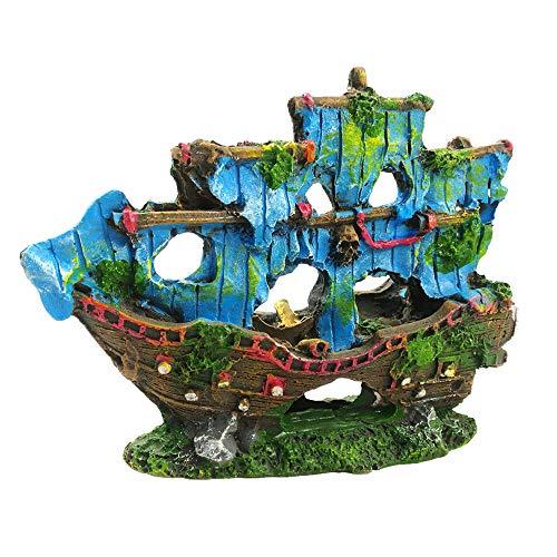 Amakunft Aquarium-Dekoration Piratenschiff, Kunstharz, Schiffswrack, Aquarium-Dekoration für Aquarien, Höhlen, Hütte, Boot, Terrariendekoration, 14 x 10,9 cm