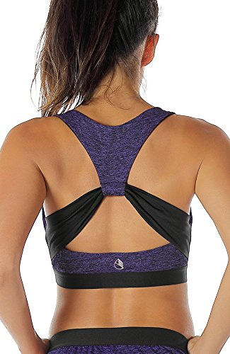 icyzone® Damen Sport-BH mit Starker Halt Gepolstert Bustier Stretch Sports Bra Top Fuer Yoga Fitness-Training (XXL, Purple)
