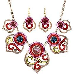 Yazilind Vintage Gorgeous forma de la flor colorida del Rhinestone Perlas Pendientes Bib y collar de la joyería