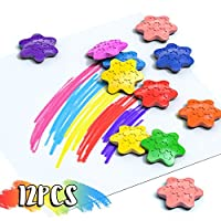 UNEEDE 12 Colors Paint Crayons, Toddlers Crayons Kids Snowflake Toy Crayons, Safe and Non Toxic