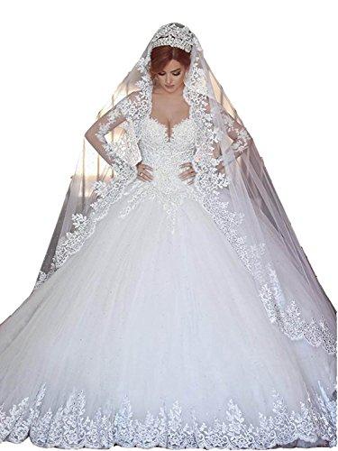 Changjie Damen SpitzeApplique Prinzessin Langarm Hochzeitskleid Brautkleid Gr??e 42 Wei?