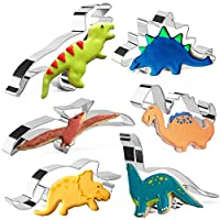 Dinosaur Cookie Cutters Set for Kids Stainless Steel Stainless Steel Biscuit Cutters for Baking Pastry Cake Decoration 6 Pieces
