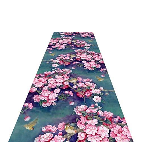 XZtianxie Alfombra Larga, Patrón Abstracto De Flores De Color Rosa Alfombras Pasillo Largas, Adecuada...