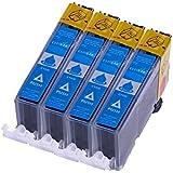 Druckerpatronen für Canon CLI 526 C , CLI526 Cyan mit Chip kompatibel (4 Stück)