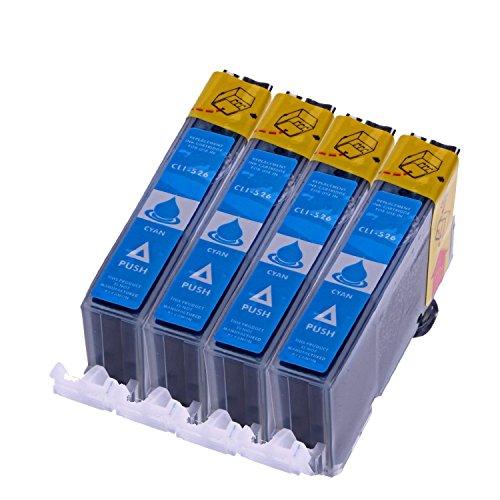C 4 Drucker (Druckerpatronen Kompatibel zu Canon CLI 526 C , CLI526 Blau mit Chip kompatibel (4 Stück))