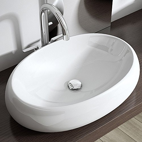 Aufsatzwaschbecken Brüssel323, BTH: 59x40x15,5 cm, Waschbecken in weiß, aus Keramik, ovale Form, Waschschale, Waschplatz