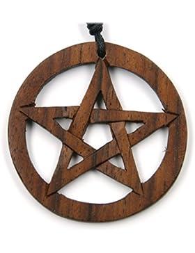 Pentagramm keltischer Schmuck aus Holz, Kettenanhänger zeitlos natürlich Länge 4cm, inkl Textilband Holzschmuck