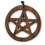 Drachensilber Pentagramm keltischer Schmuck aus Holz, Kettenanhänger zeitlos natürlich Länge 4cm, inkl Textilband Holzschmuck