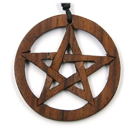 Drachensilber Pentagramm Schmuck Holz keltische Kette Drudenfuß zeitlos natürlich Holzschmuck mit Band magischer Hexenstern Kettenanhänger -