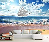 YUANLINGWEI Wandbild Tapete 3D Benutzerdefinierte Moderne Fototapete Wandbild Cartoon Blumenmuster Für Wohnzimmer Tv Hintergrund Floral Tapete,230Cm (H) X 310Cm (W)