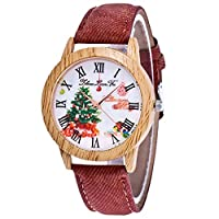 Souarts Womens Coffee Artificial Leather Imitation Wooden Case Tree Dial Quartz Analog Watch 24cm