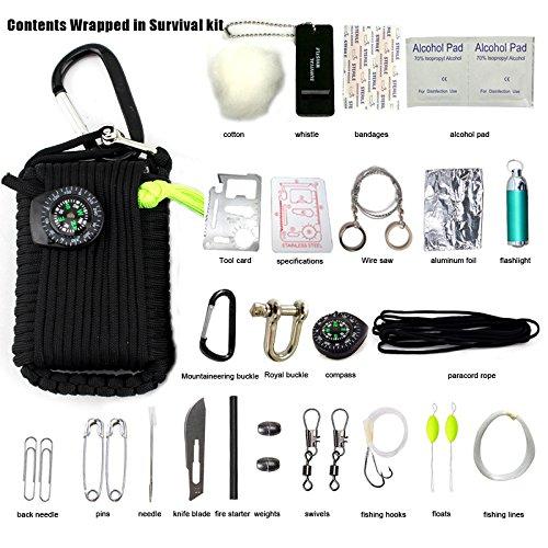 Emergency Survival Kit, 29 in 1 Paracord Grenade Mini Erste Hilfe Kits Whistle Feuer Starter Set Survival Messer Köder Kompass & mehr (Schwarz)