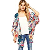 Xinan Damen Cardigan Floral Print Kimono Locker Chiffon Tops (XXL, Weiß)