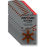 Rayovac Extra Advanced Batterie Acustiche Zinco Aria, Formato 312 Value Pack da 60 Batterie, Marrone