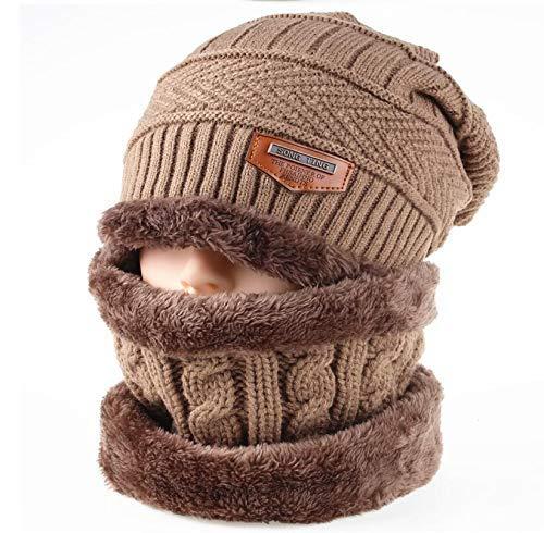 LIXUE Chapeau Tricotés pour Hommes Et Femmes Hiver Épaississement Casquettes Oreille Chaude Protection en Plein Air Chaud Coupe-Vent en Laine Chapeau Chapeau + Écharpe 2 Pièces (Color : Khaki)