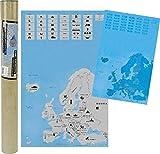 MC Europakarte Zum Rubbeln in Schwarz Gold 45 x 80 cm Landkarte Länder Urlaub Abenteuer Europa Europe