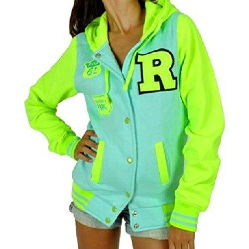 CBKTTRADE Damen College Jacke Old School Jacket Sweat Jacke Fox Hooded Boxusa, Minze Gelb, L/XL (Nike Tex Jacke Gore)