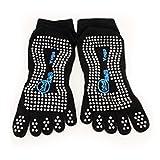 HuntGold 1 Paar Damen Professionelle fünf Zehen Yoga Strumpfwaren Non Slip Verbrauch Massage Söckchen Strumpfhosen (schwarz)