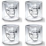 Okayji Skull Doomed Glass Wine Glass, 75 ml, Set of 4, Clear