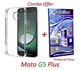 RidivishN (COMBO OFFER) Motorola Moto G5 Plus / Moto G5 Plus - - - Transparent Soft Silicone Flexible Back Cover Case + Premium Tempered Glass screen Protector - - - ( Transparent )