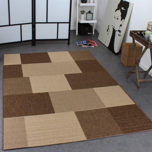 Paco Home In- & Outdoor Teppich Modern Flachgewebe Karo Sisal Optik Natur Beige Creme, Grösse:160x220 cm