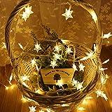 Estrella luces de cadena, 5M 50 LED que funcionen blanco cálido luces de hadas de la batería, constante encendido y el modo de flash Dos luz decorativa para el cumpleaños de Halloween de Navidad