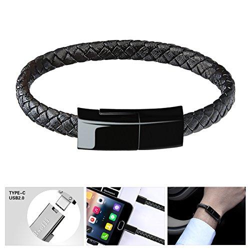 Bsolli USB 2.0 tipo C Pulsera Cable pulsera de pulsera trenzada de cuero portátil Cable de carga de datos USB para Samsung Galaxy S8 / S8 +, Nexus 5X / 6P, nueva MacBook y más. (9.1 pulgadas, negro)
