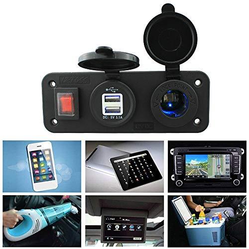Festnight Breaker Switch Panel 12V Dual-USB-Autoladegerät mit Leichter LED-Anzeige für Marine RV-Fahrzeug-LKW - Marine Breaker Panel