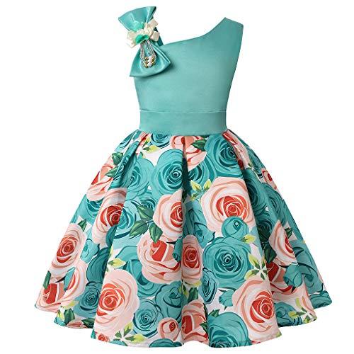 LEXUPE Blumenbaby-Prinzessin Bridesmaid Pageant Gown Birthday Party Wedding Dress(Hellblau,100/3)