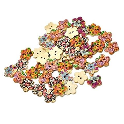 Viskey Pack of 25 Flower Print 2 Holes Wooden Wintersweet