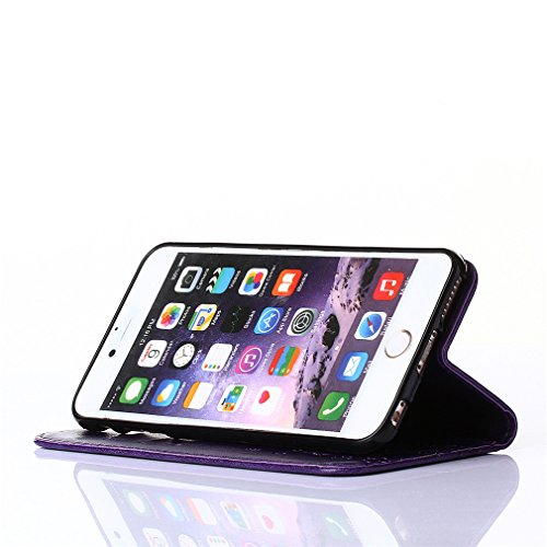 A9H Leder Tasche Case Cover für iPhone 4 4G 4s Hülle PU Schutz Etui Schale Rose Muster Design Backcover Flip Cover Wallet Hardcase im Bookstyle mit Standfunktion Karteneinschub und Magnetverschluß Etu 4HUA