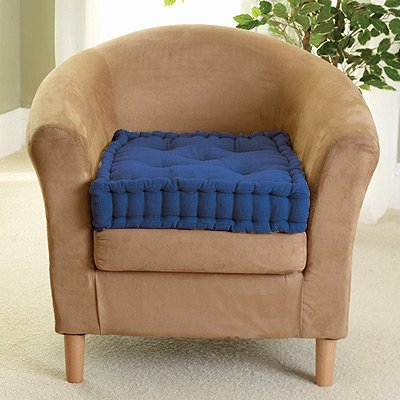 ROHI Supportive Armchair Booster Cushion with Luxury Soft to Touch 100% Cotton Cover (Royal Blue)