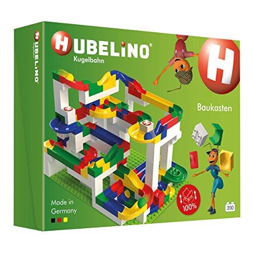 Hubelino 420183 - Kugelbahn - Mega-Baukasten - große Platte & Buch - ab 4 Jahre (100% kompatibel mit Duplo) - 200 Teile