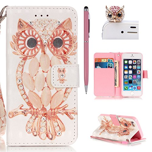 iPhone se Custodia, iPhone 5S Case, iPhone 5Cover–Felfy Flip a libro Wallet Cover in pelle Luxe Slim Cover Retro Painted motivo grazioso colore Premium PU Leather Stand Wallet Case Cover Pouch Shel Bling Shell Eule