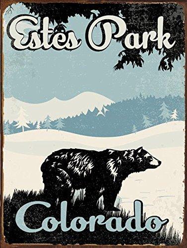 OMSC Estes Park Colorado Bear Metall Zeichen, rustikal eingerichtet, Winter, Mountain, Lodge - Estes Park, Colorado