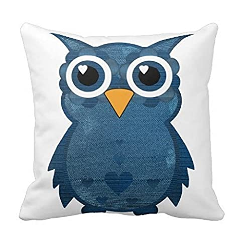 Denim Effect Owl Square Throw Pillow Case Cushion Cover Fashion Home Decorative Pillowcase Cotton Polyester Pillow Cover(45cm x 45cm, One Sides)