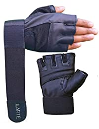 b97206809 ILARTE Leather Gym Gloves for Man Women Fitness Gym Workout Foam Padded  with Double Wrap Elastic